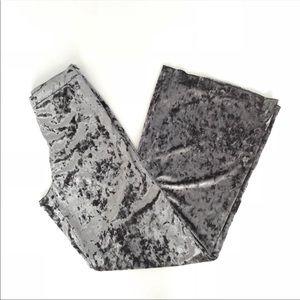 Zara Velvet Wide Leg Pants Size L Palazzo Gray